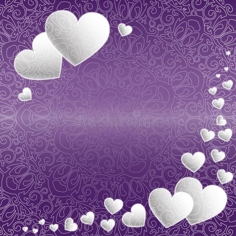 Fond heureux de coeurs de jour du ` s de Valentine et améthyste modelée de dentelle illustration de vecteur