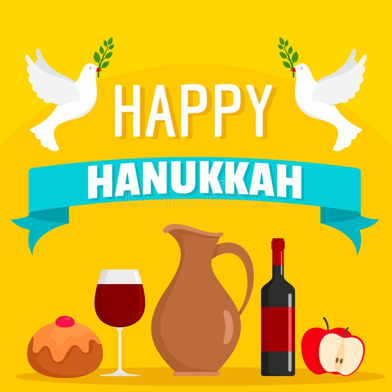 Fond heureux de concept de nourriture de Hanoucca, style plat illustration de vecteur