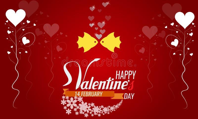 Fond heureux de dessin de main de vintage de Saint-Valentin avec des coeurs illustration libre de droits
