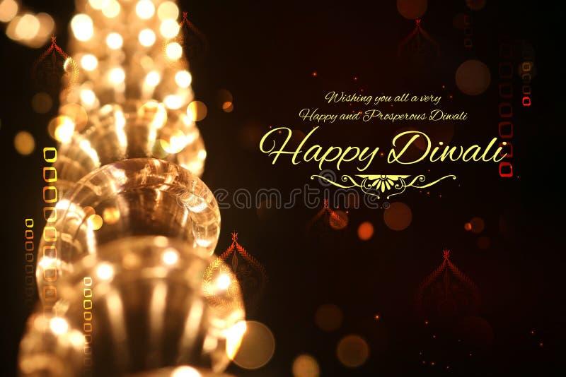 Fond heureux de Diwali décoré de la lumière photos stock