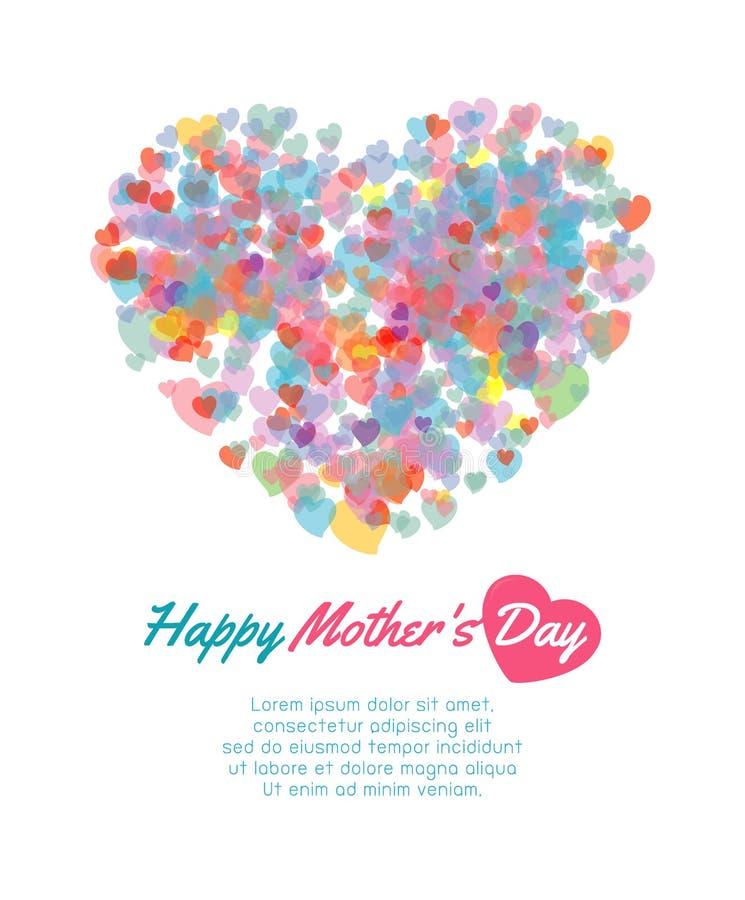 Fond heureux de fête des mères avec le coeur, carte de jour de mères heureux illustration heureuse de vecteur de carte de jour de illustration libre de droits