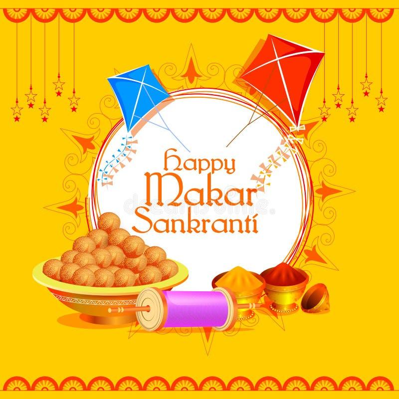 Fond heureux de festival d'Inde de vacances de Makar Sankranti illustration stock