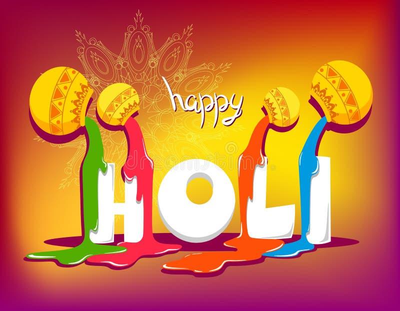 Fond heureux de Holi avec la peinture de charme Illustration de vecteur Fond abstrait de Holi illustration de vecteur