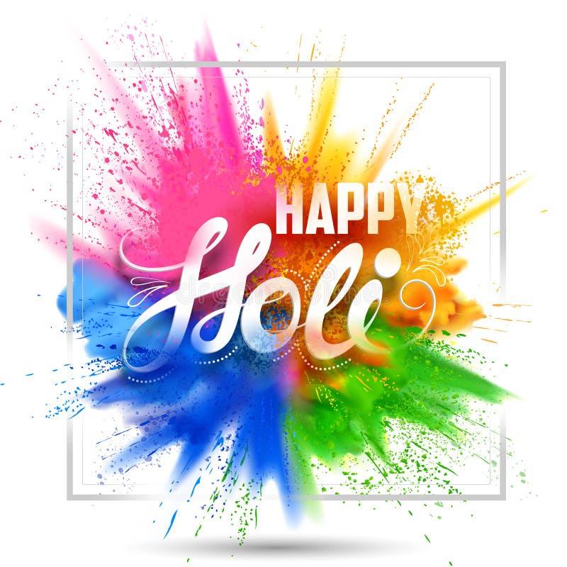 Fond heureux de Holi pour le festival de couleur des salutations de célébration d'Inde illustration de vecteur