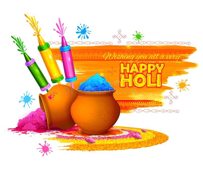 Fond heureux de Holi pour le festival des salutations de célébration de couleurs illustration libre de droits