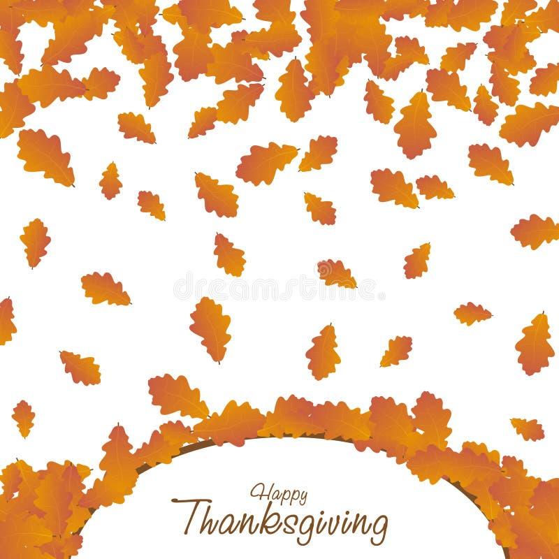Fond heureux de jour d'action de grâces Carte en baisse de feuilles d'automne Illustration de thanksgiving de vecteur illustration de vecteur