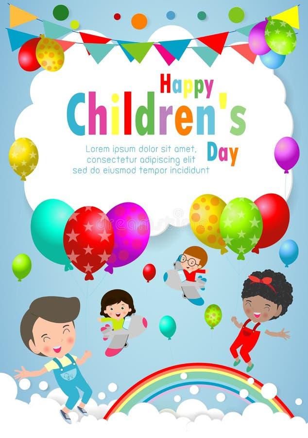 Fond heureux de jour d'enfants, affiche du jour des enfants avec le calibre heureux d'enfants pour la brochure de publicité votre illustration de vecteur