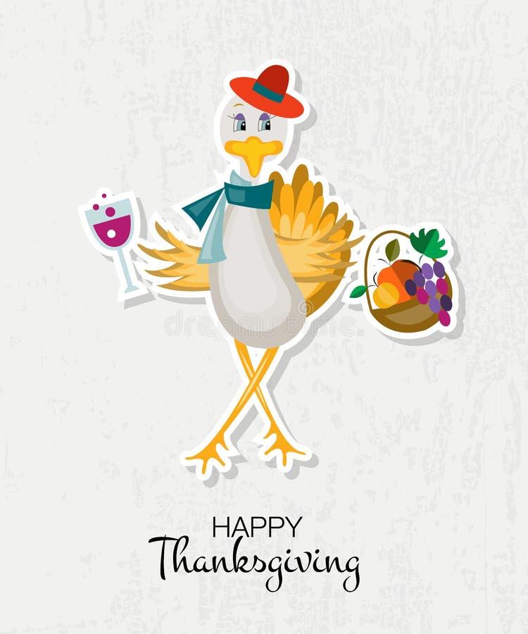 Fond heureux de jour de thanksgiving avec la dinde de hippie illustration de vecteur
