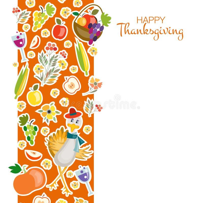 Fond heureux de jour de thanksgiving de style plat de conception illustration de vecteur