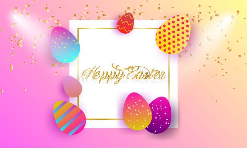 Fond heureux de lettrage de Pâques illustration stock