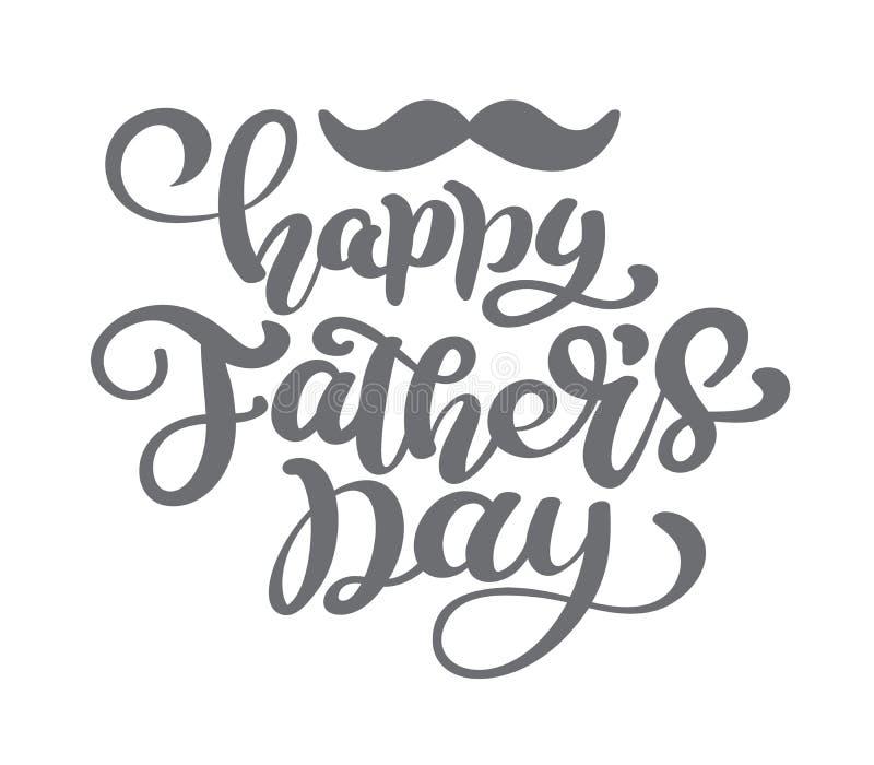 Fond heureux de lettrage de vecteur de jour de pères Bannière heureuse de lumière de calligraphie de jour de pères Papa mon illus illustration libre de droits