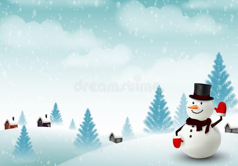 Fond heureux de Noël de bonhomme de neige illustration stock