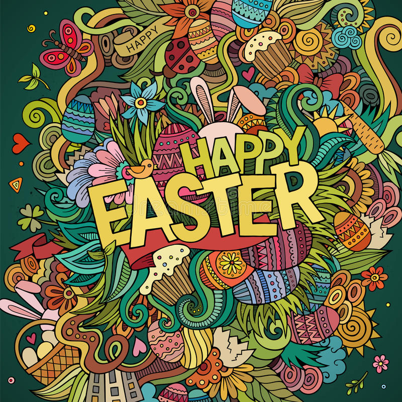 Fond heureux de Pâques de griffonnages tirés par la main de bande dessinée illustration libre de droits