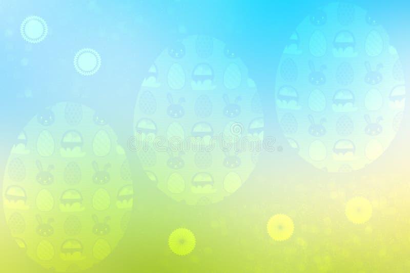 Fond heureux de Pâques Pré vert abstrait avec des fleurs de ressort et des oeufs de pâques colorés et un ciel bleu ensoleillé L'e illustration de vecteur