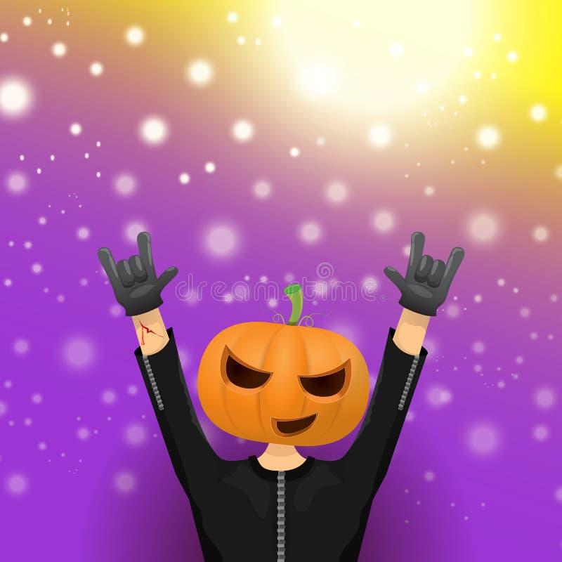 Fond heureux de partie de hippie de Halloween de vecteur homme dans le costume de Halloween avec la tête découpée de potiron sur  illustration libre de droits