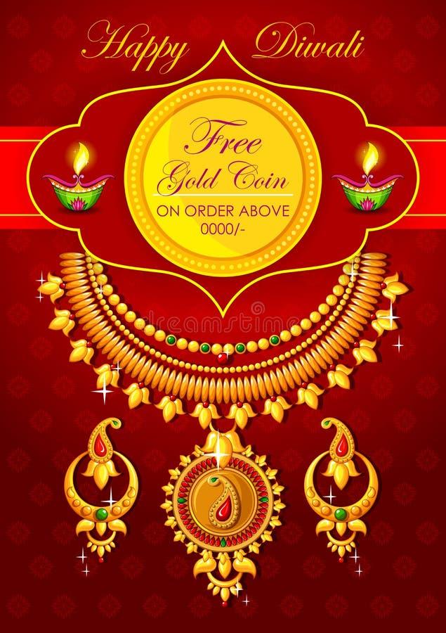 Fond heureux de promotion de bijoux de Diwali avec le diya illustration libre de droits