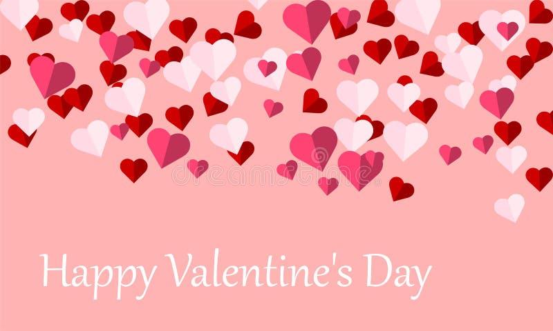 Fond heureux de Saint-Valentin avec des symboles de forme de coeur de l'amour, saluant le design de carte illustration libre de droits