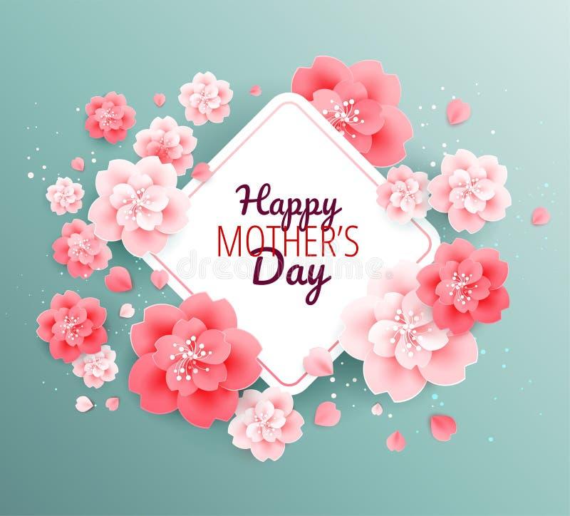 Fond heureux de vert de jour de mères avec de belles fleurs roses - illustration de vecteur