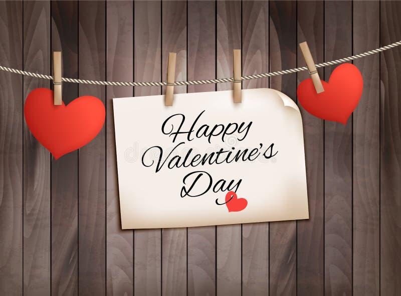 Fond heureux du jour de Valentine avec des coeurs illustration stock