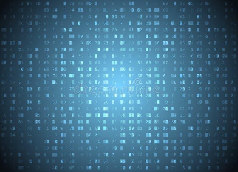 Fond hexadécimal de bleu de code de vecteur Grandes données et entailler de programmation, décryptage profond et chiffrage, ordin illustration de vecteur
