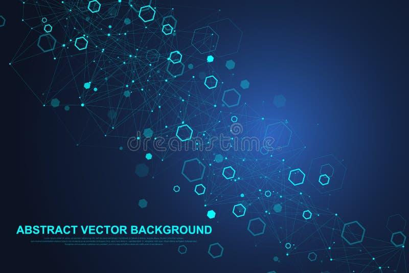 Fond hexagonal abstrait avec des vagues Structures moléculaires hexagonales Fond futuriste de technologie en science illustration stock