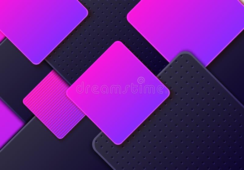 Fond horizontal abstrait avec et au néon losange posé par gradient gris-foncé Le papier minimaliste de vecteur a coupé géométriqu illustration de vecteur