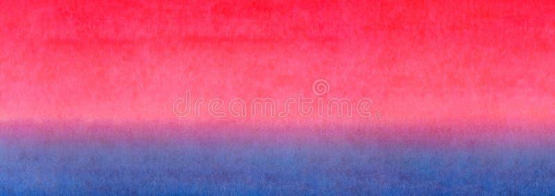 Fond horizontal coloré de texture d'aquarelle de bannière de gradient lumineux bleu rouge de jaune orange de bannière de Web Leve photo stock