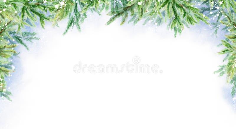 Fond horizontal d'hiver abstrait d'aquarelle Branchements de sapin Horizontal de l'hiver illustration libre de droits