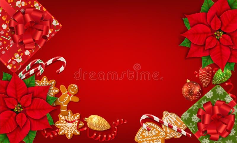 Fond horizontal de rouge de Noël illustration stock