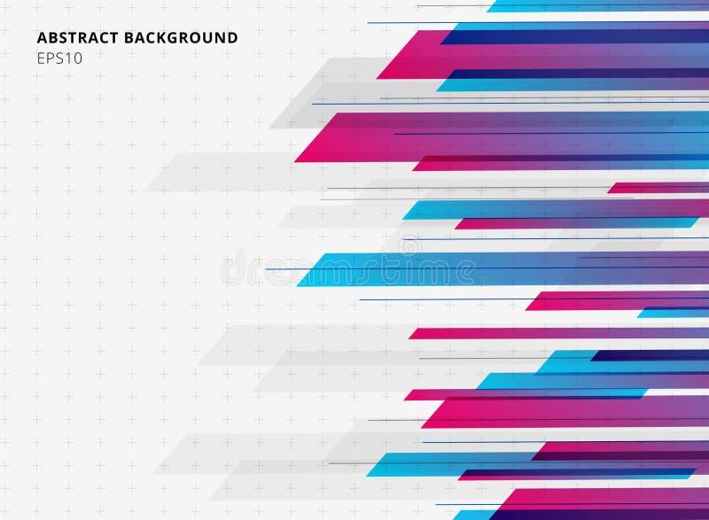 Fond horizontal géométrique de mouvement brillant lumineux de couleur de gradient de bleu et de rose de technologie de résumé Cal illustration de vecteur