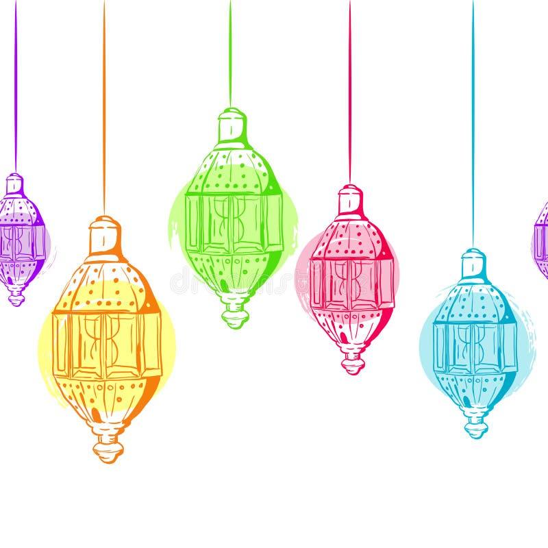 Fond horizontal sans couture de vecteur avec des lanternes d'ensemble illustration libre de droits