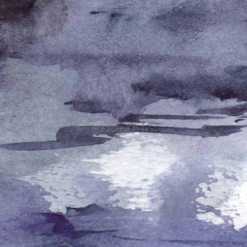 Fond humide de texture d'asphalte de pluie grise grise de noir de bleu marine d'aquarelle illustration libre de droits