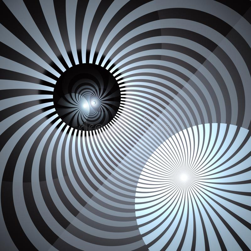 Fond hypnotique et vibrant de rayons de couleur Vortex en spirale abstrait Tourbillon rayonnant de rayons de soleil illustration libre de droits