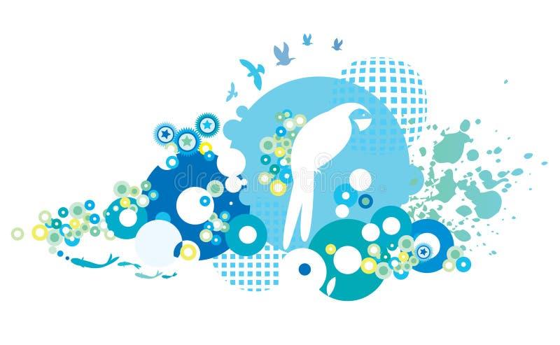 Fond illustré d'oiseau illustration libre de droits