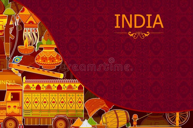 Fond incroyable d'Inde dépeignant la culture et la religion colorées indiennes illustration libre de droits