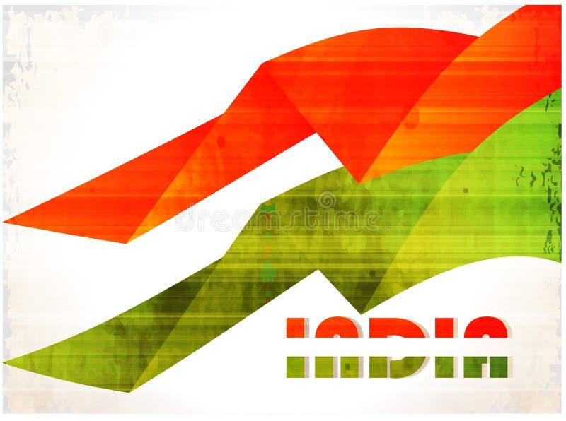 Fond indien de drapeau avec le chakra d'Asoka sur le blanc illustration libre de droits