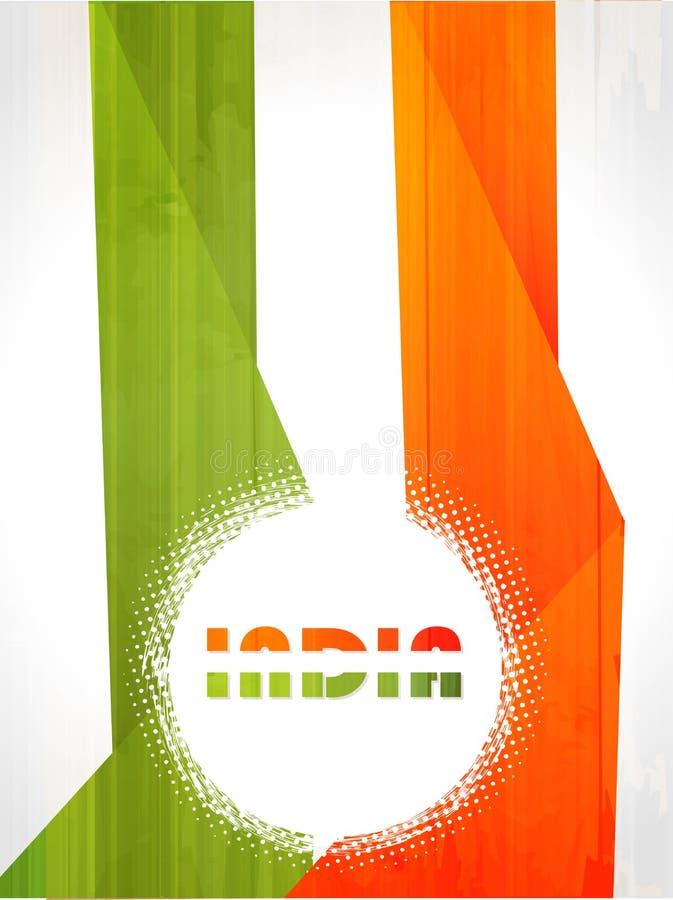 Fond indien de drapeau avec le chakra d'Asoka sur le blanc  illustration stock