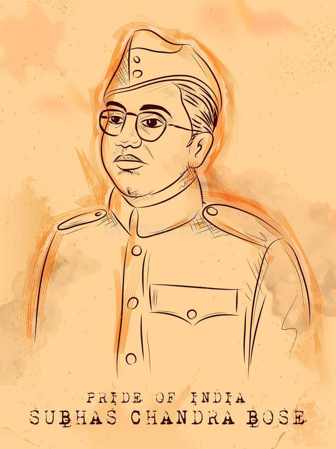 Fond indien de vintage avec le héros de nation et combattant Subhash Chandra Bose Pride de liberté d'Inde illustration de vecteur