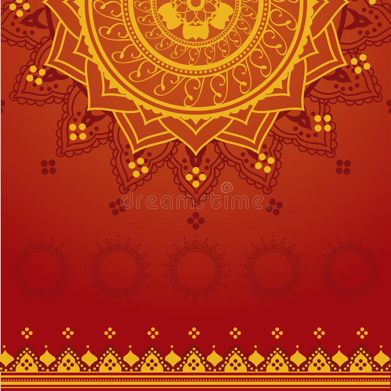 Fond indien jaune et rouge illustration stock
