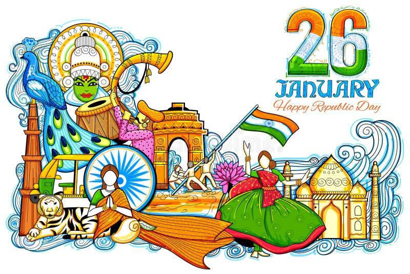 Fond indien montrant sa culture et diversité incroyables avec le monument, célébration de festival pour le 26 janvier illustration libre de droits