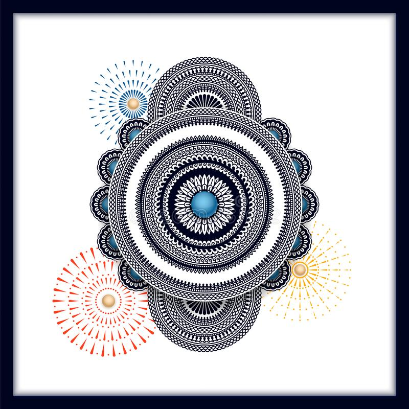 Fond indien traditionnel de mandala avec des feux d'artifice conception pour la carte, chèque-cadeau, emballage, copie illustration de vecteur
