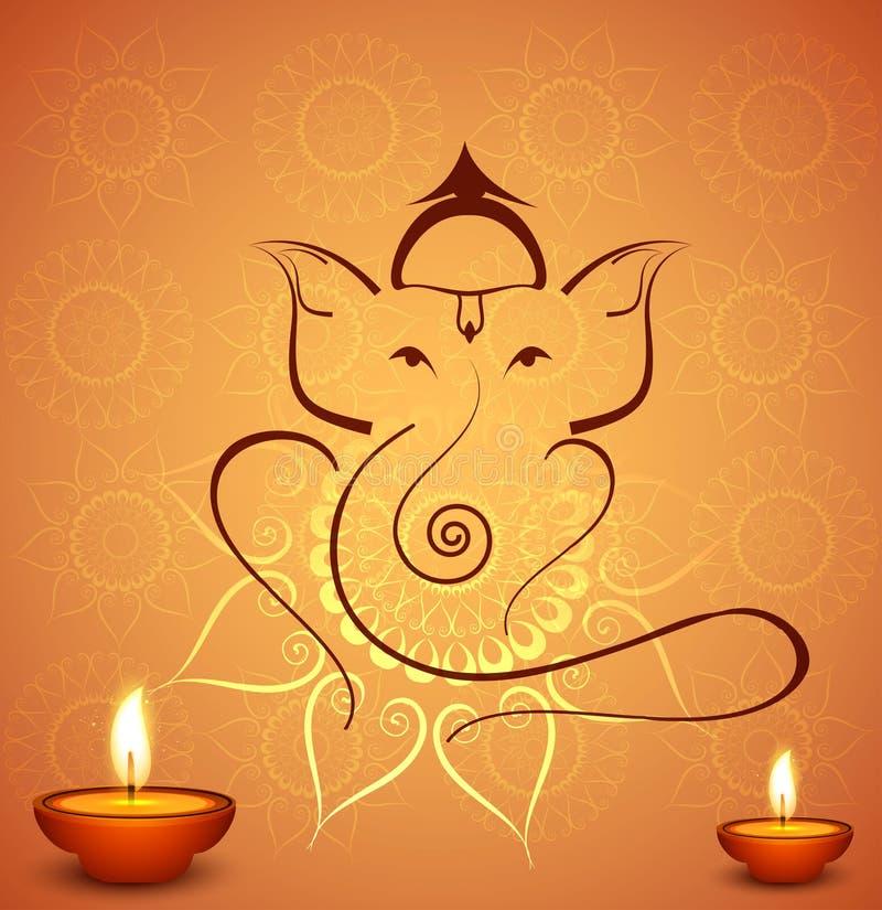 Fond indou de festival de Lord Ganesha de belle célébration de diwali