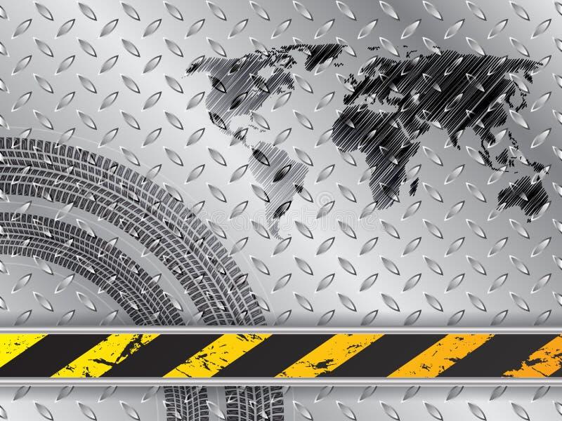 Fond industriel avec des bandes de roulement de carte et de pneu illustration libre de droits
