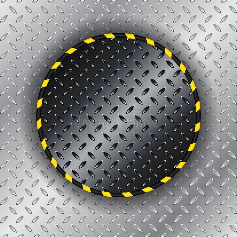 Fond industriel avec le cercle rayé jaune illustration de vecteur