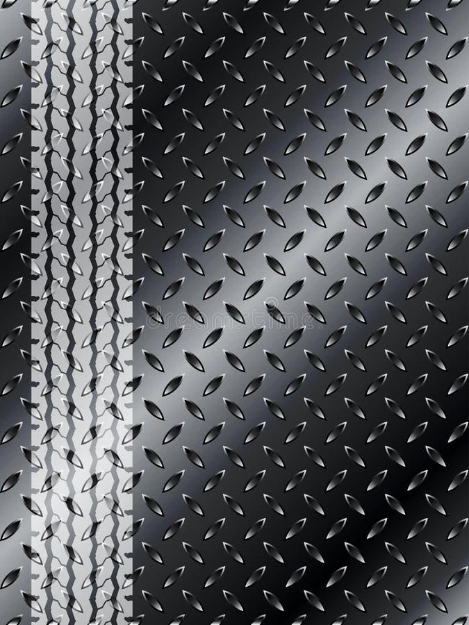 Fond industriel avec le pneu de camion sur la maille métallique noire illustration libre de droits