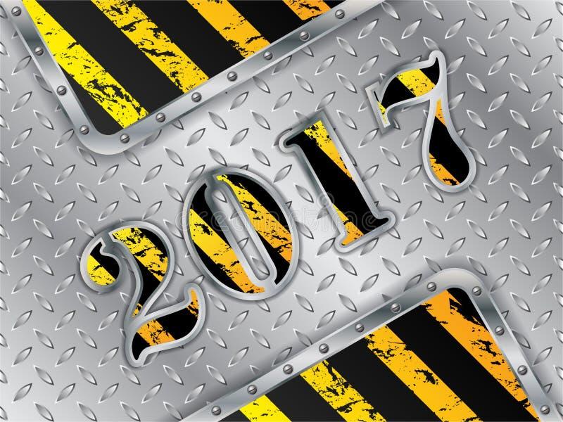 Fond 2017 industriel avec les éléments métalliques illustration de vecteur