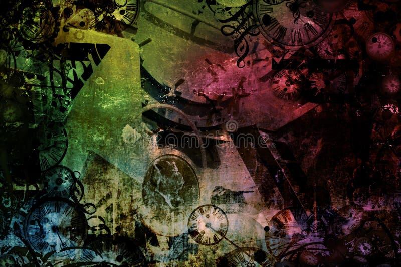 Fond industriel coloré abstrait de machines de Steampunk illustration stock
