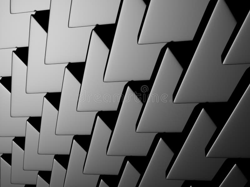 Fond industriel de modèle argenté métallique foncé de triangle image libre de droits