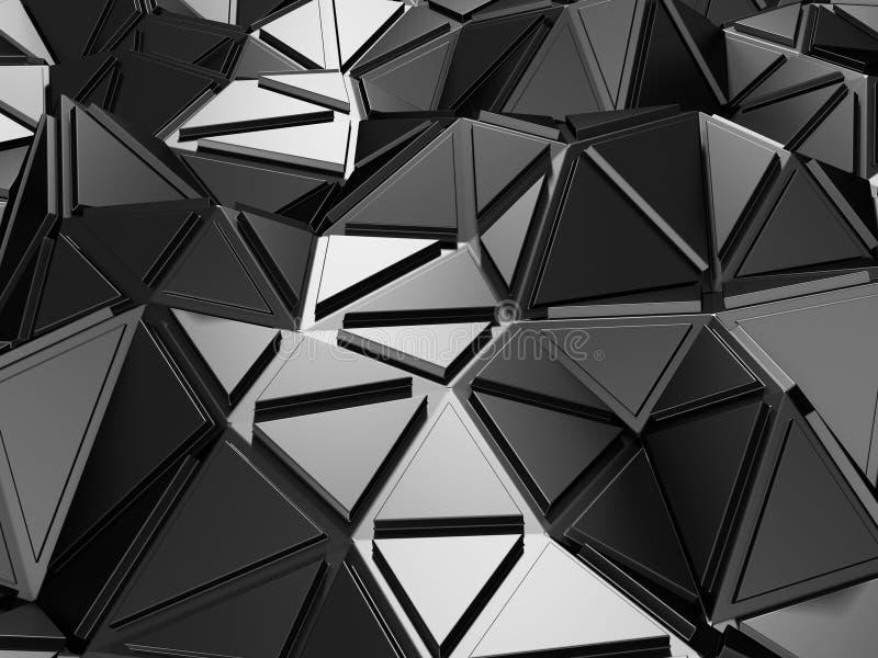 Fond industriel de modèle argenté métallique foncé de triangle illustration de vecteur