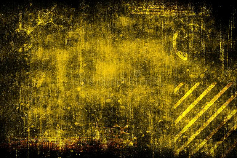 Fond industriel grunge de vintage de cyber futuriste abstrait Modèle sur la vieille surface sale Conception futuriste de technolo illustration stock